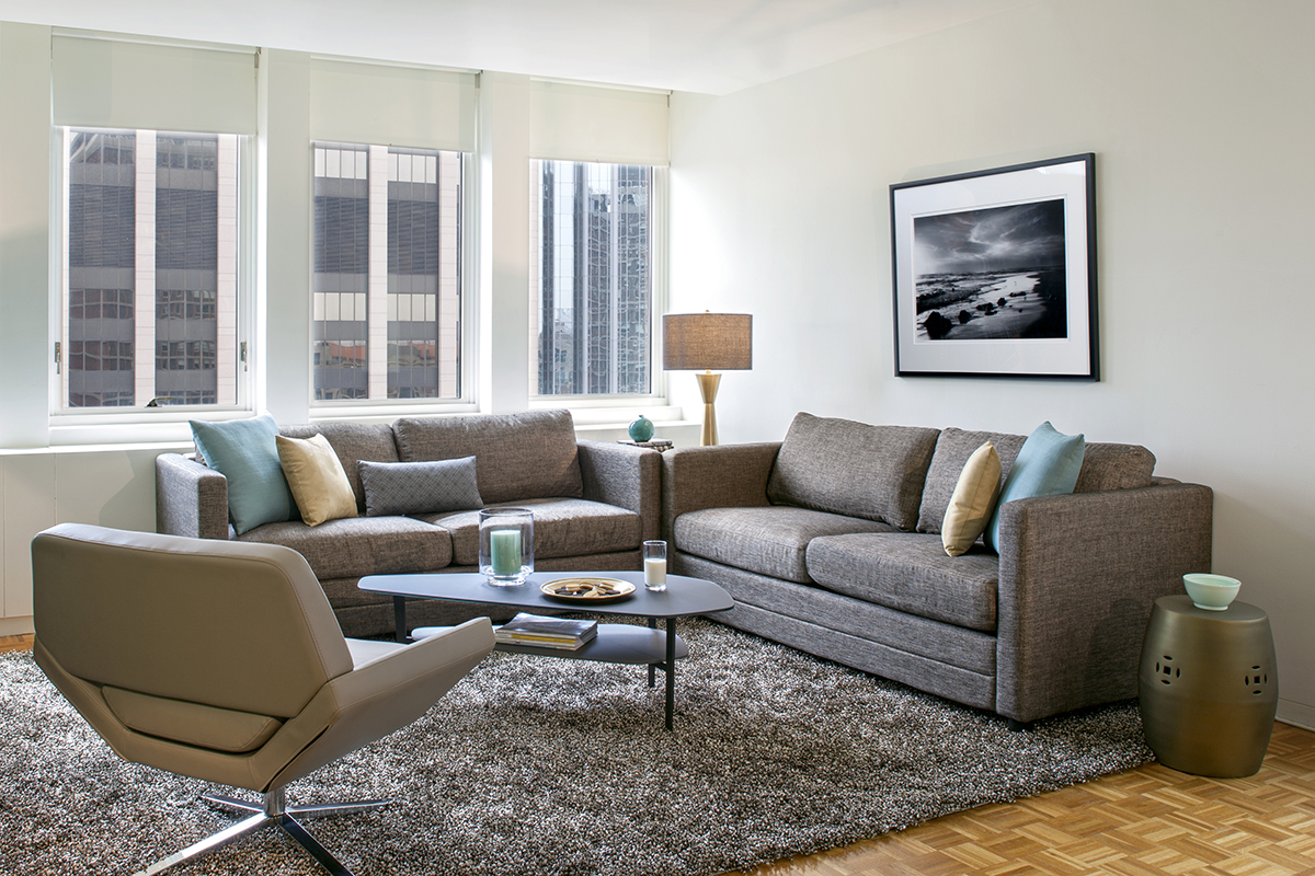 Living room at Prudential Center Apartments