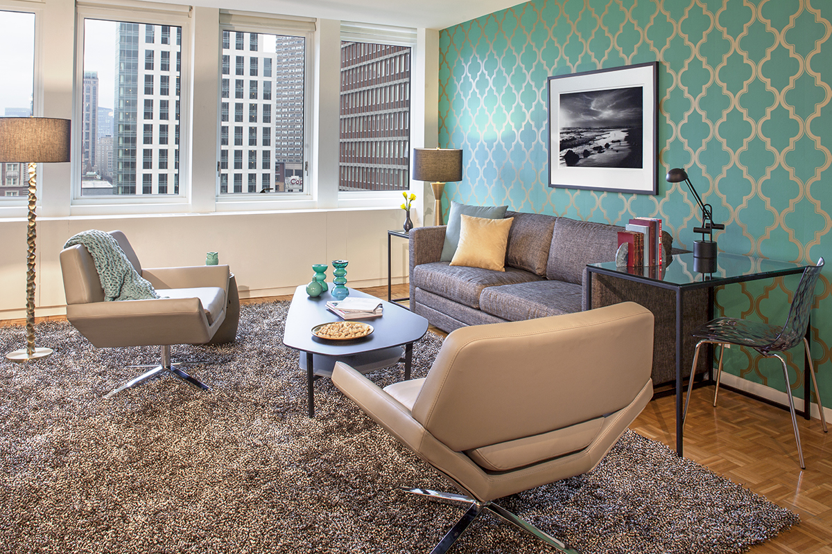 Stylish living area at Prudential Center Apartments