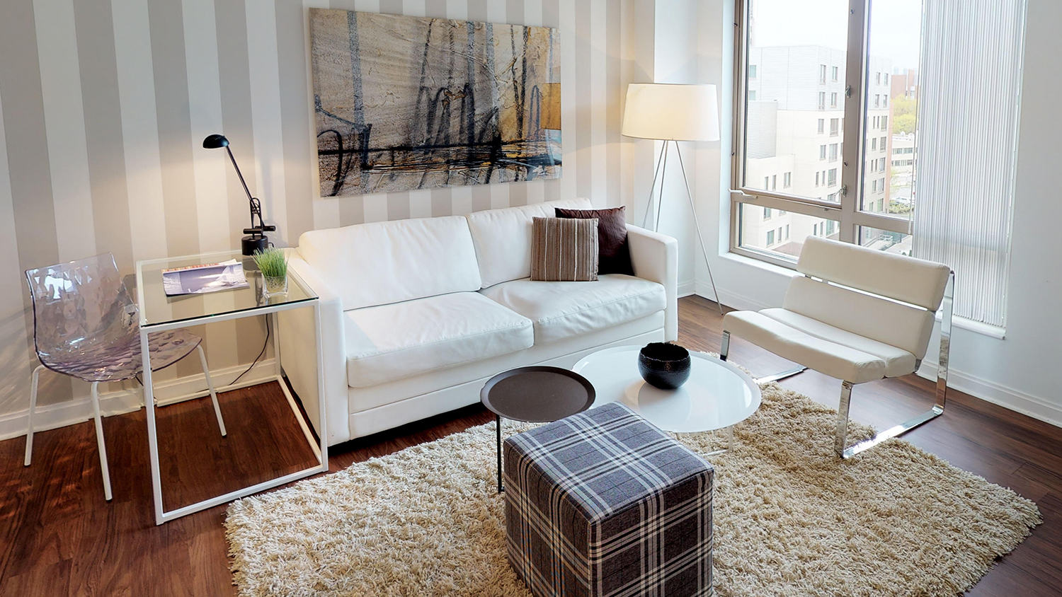 Living area at 285 Third Square Apartments