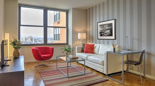 Living area at Grove Pointe, The Waterfront, Jersey City