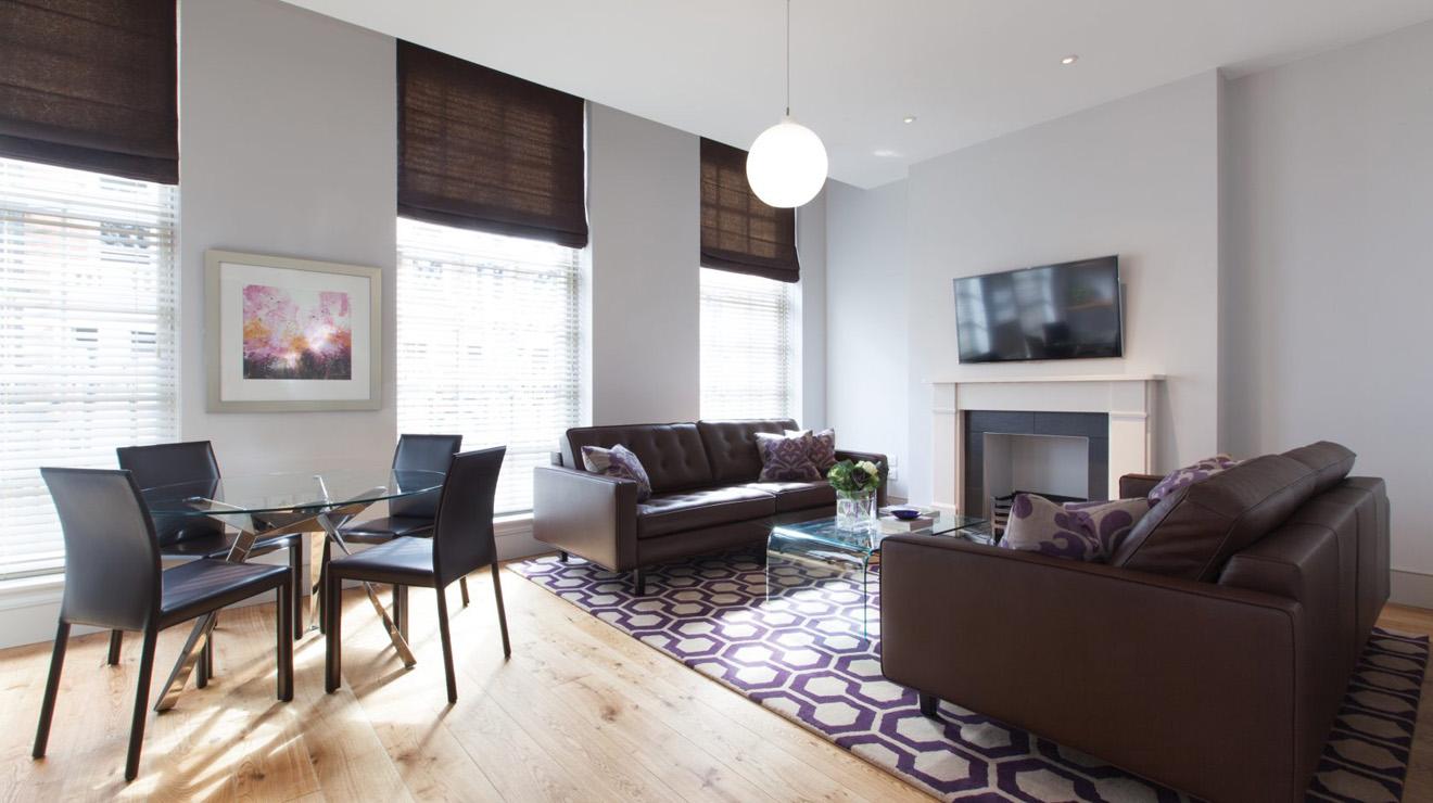 Bright living area at AKA Marylebone