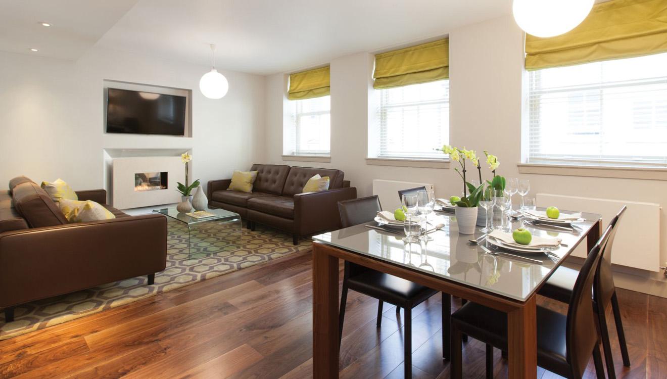 Spacious living room at AKA Marylebone