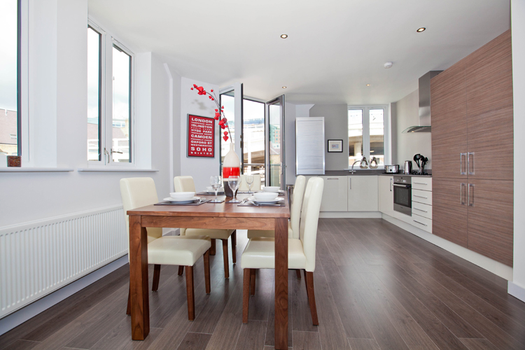 Dining area at One Whites Row Apartments, Liverpool Street, London