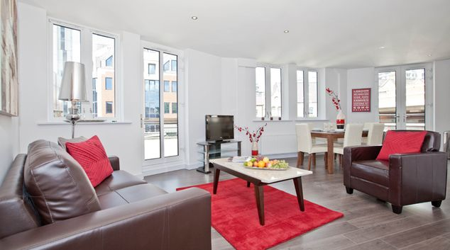 Living room at One Whites Row Apartments, Liverpool Street, London