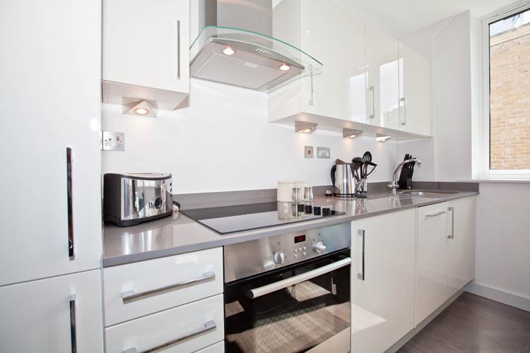 Kitchen at One Whites Row Apartments, Liverpool Street, London