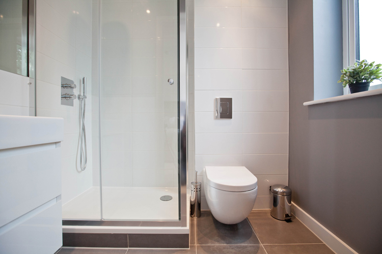 Shower at One Whites Row Apartments, Liverpool Street, London