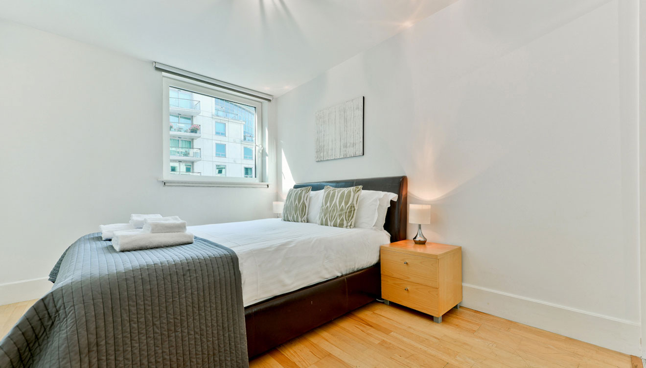 Spacious bedroom at St George Wharf