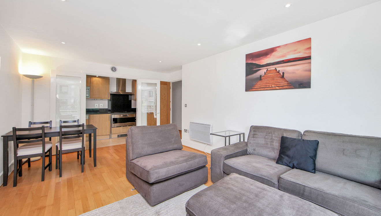 Open-plan living area at St George Wharf