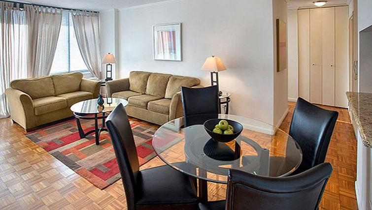 Spacious living area in 235 West 48th Street Apartments