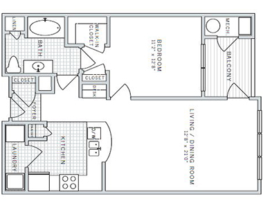 Floor plan A at AVE Downingtown Apartments