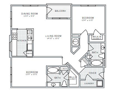 Floor plan B at AVE Downingtown Apartments