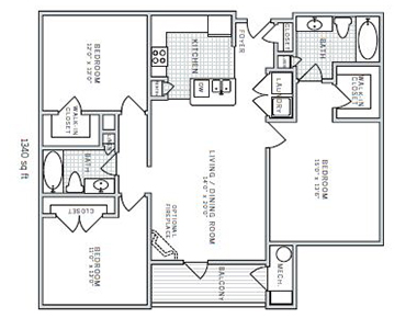 Floor plan C at AVE Downingtown Apartments