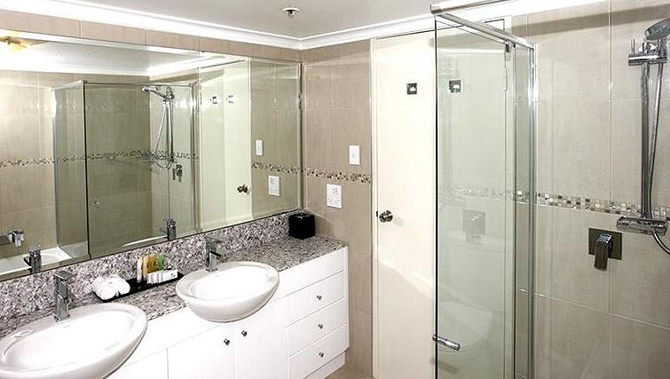 Marble bathroom at York Apartments