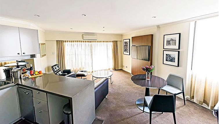 Open plan living area at York Apartments