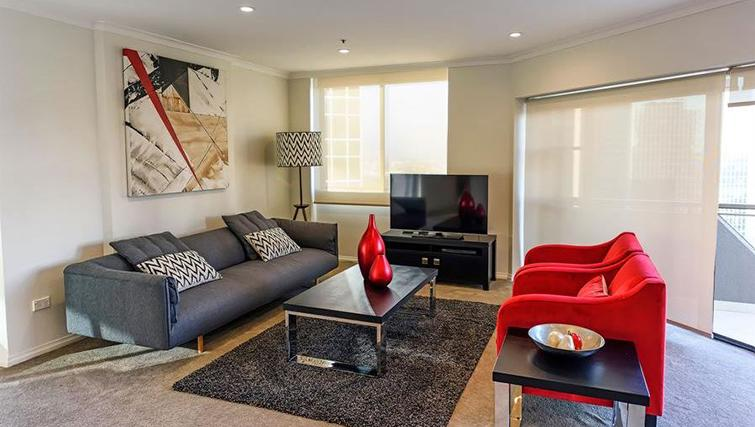 Spacious living area at York Apartments