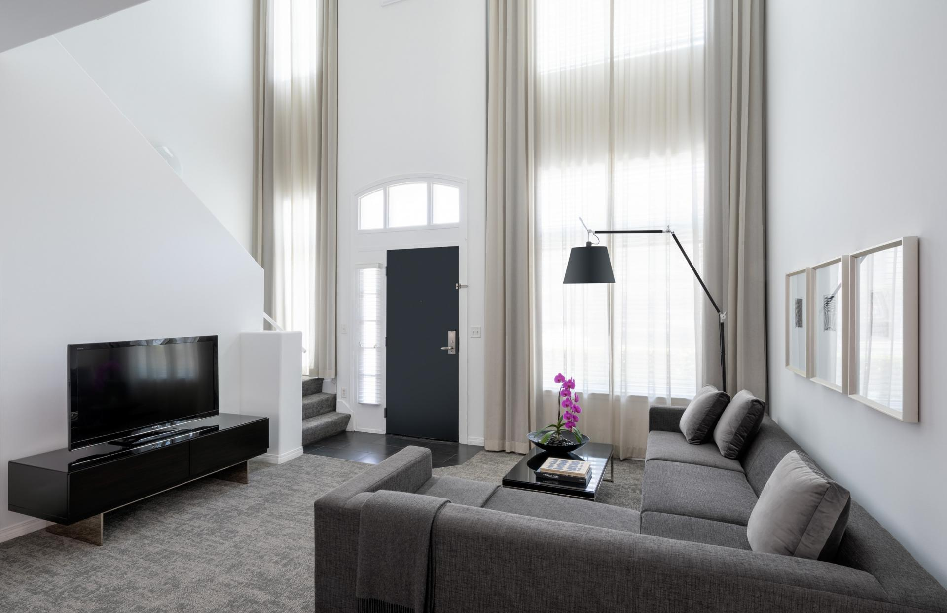 Living area of AKA Beverly Hills