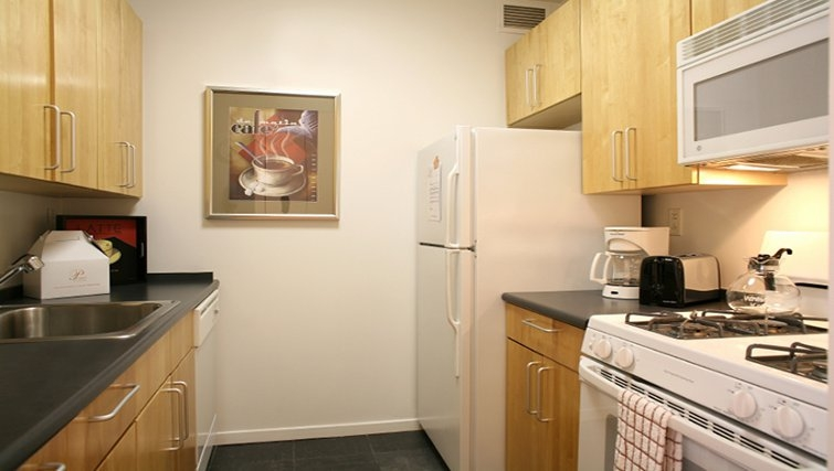 Equipped kitchen in 777 6th Avenue Apartments