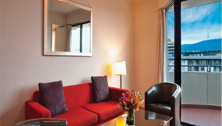 Comfortable living area in Medina Serviced Apartments Canberra, James Court