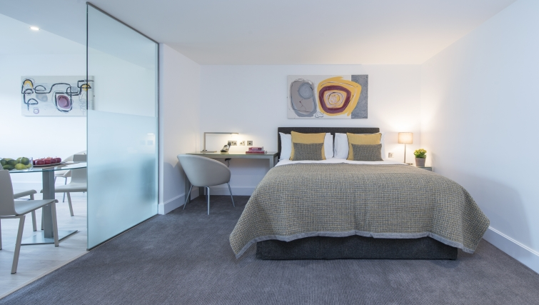 Attractive bedroom in The Rosebery Aparthotel