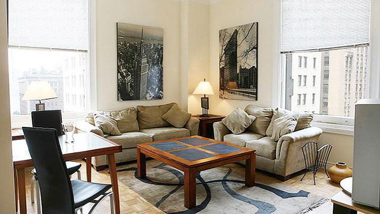 Cosy living area in 71 Broadway Apartments