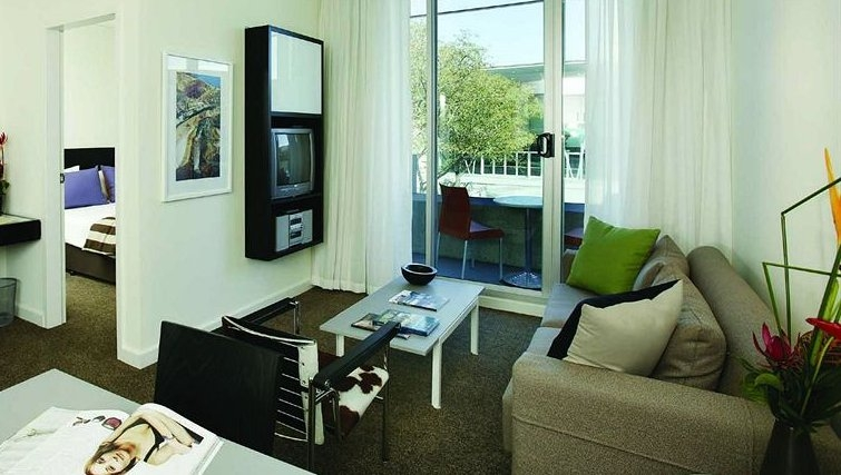 Modern living area in Adina Apartment Hotel Perth