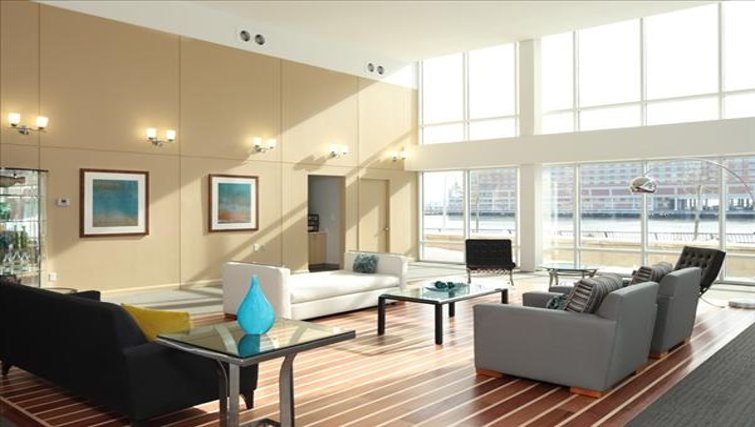 Spacious communal lounge in The Pier Apartments