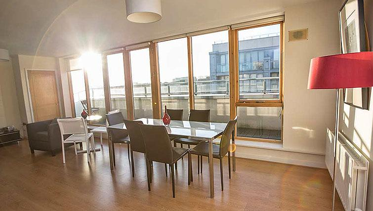 Bright dining area in Gasworks Apartments