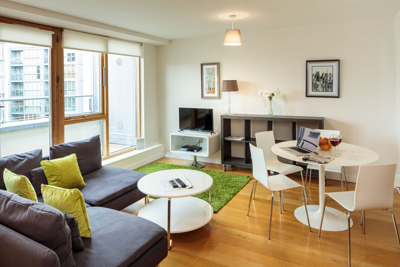Open-plan living area in Gasworks Apartments