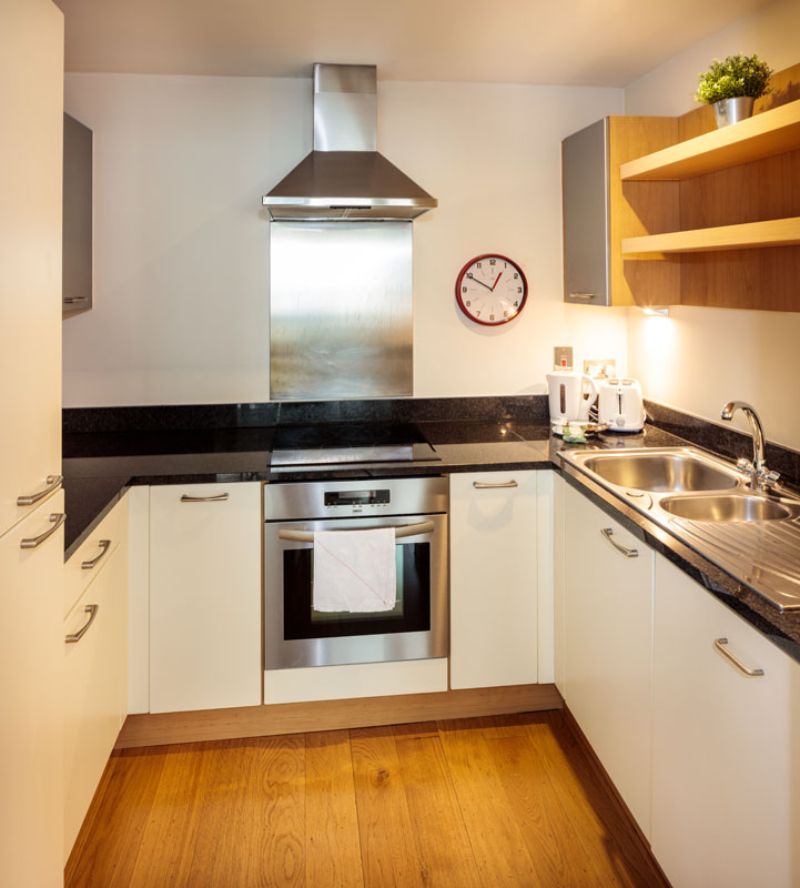 Fully equipped kitchen in Gasworks Apartments