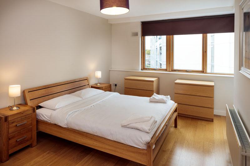 Bright bedroom in Gasworks Apartments