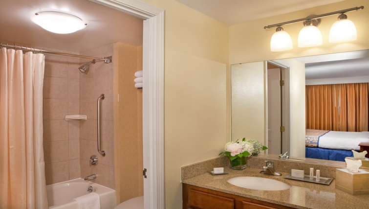 Bright bathroom in Residence Inn Boston Harbor on Tudor Wharf