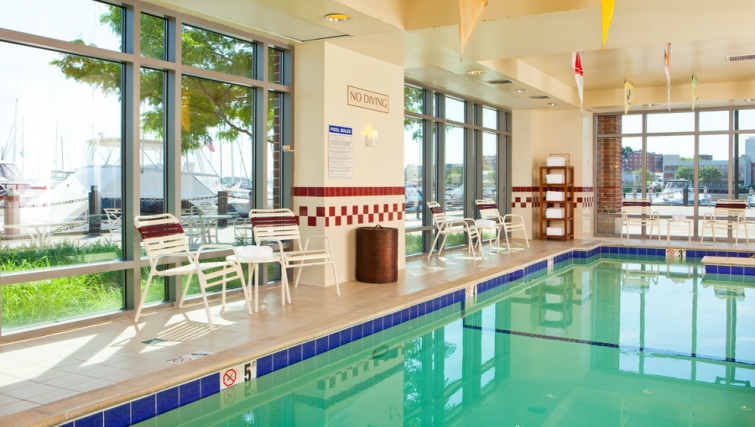 Tranquil pool in Residence Inn Boston Harbor on Tudor Wharf