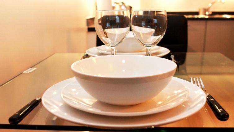 Elegant dining area in Salford Quays Apartments