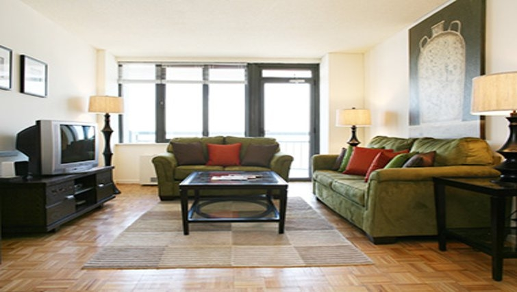 Spacious living area in South Park Tower Apartments