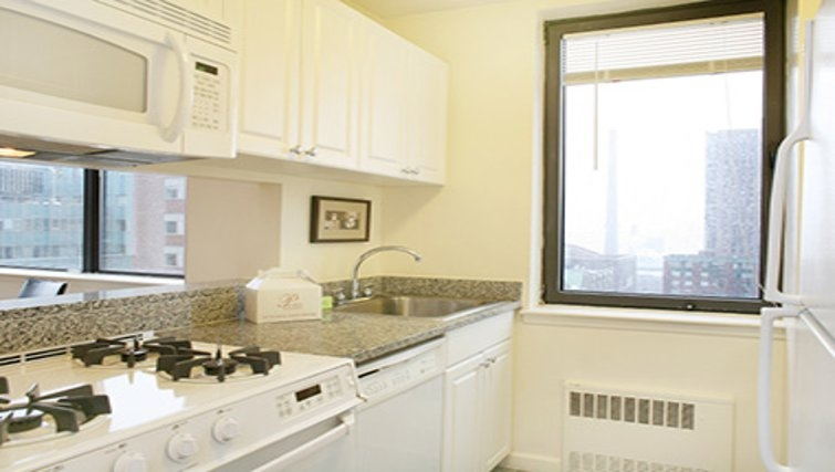 Bright kitchen in South Park Tower Apartments
