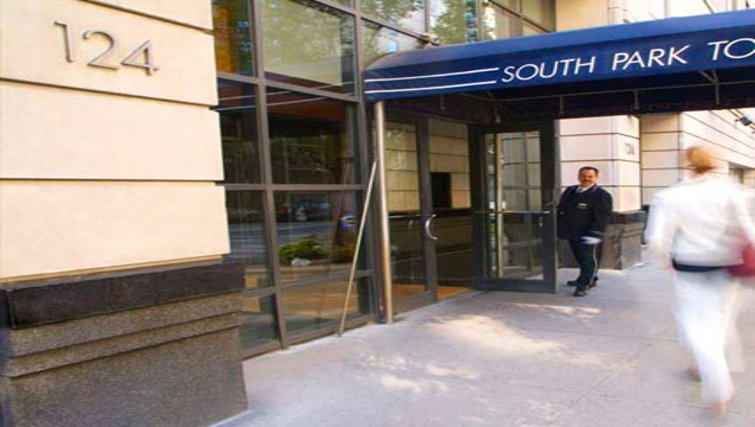 Inviting exterior of South Park Tower Apartments