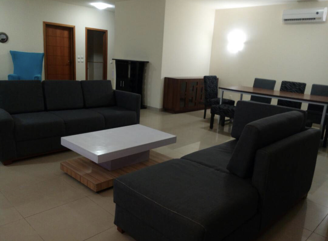 Relaxing living area in Banana Island Apartments