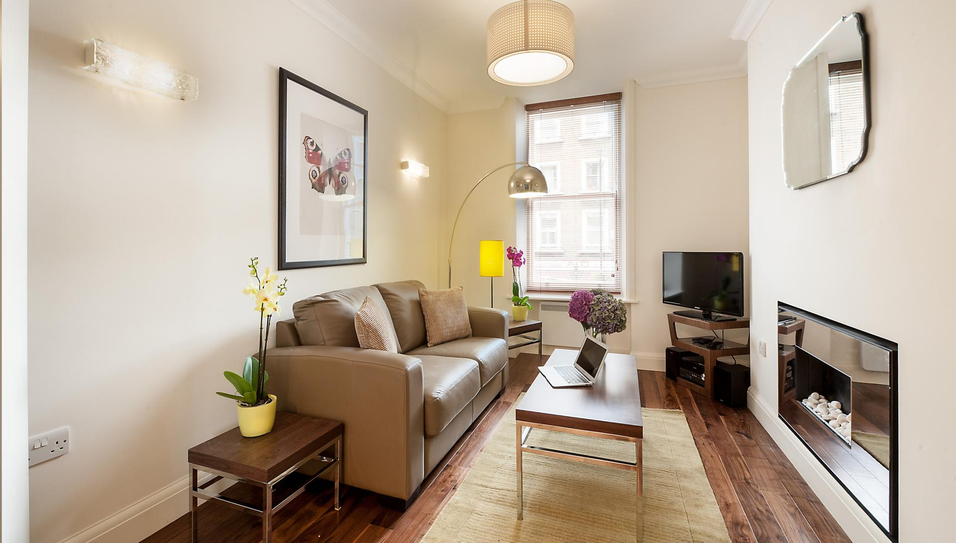 Charming living room at Chiltern Street Apartments