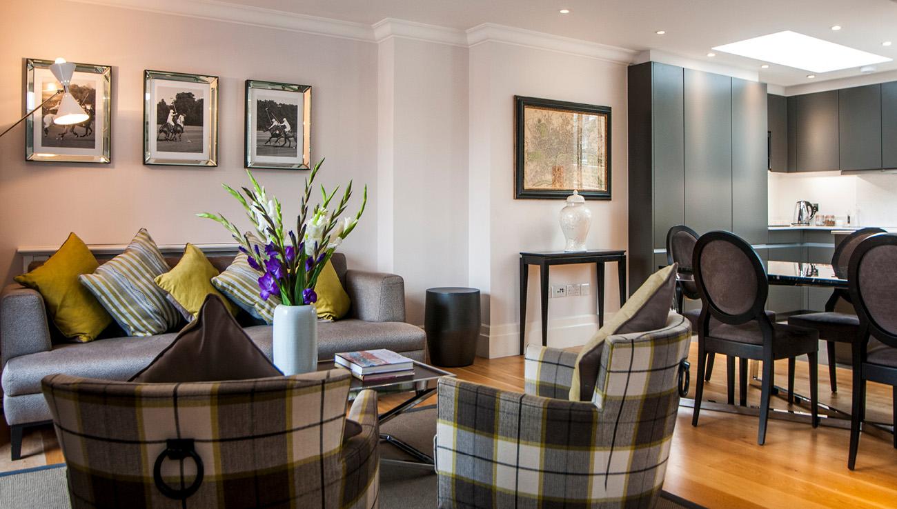 Living room at Native Mayfair Apartments