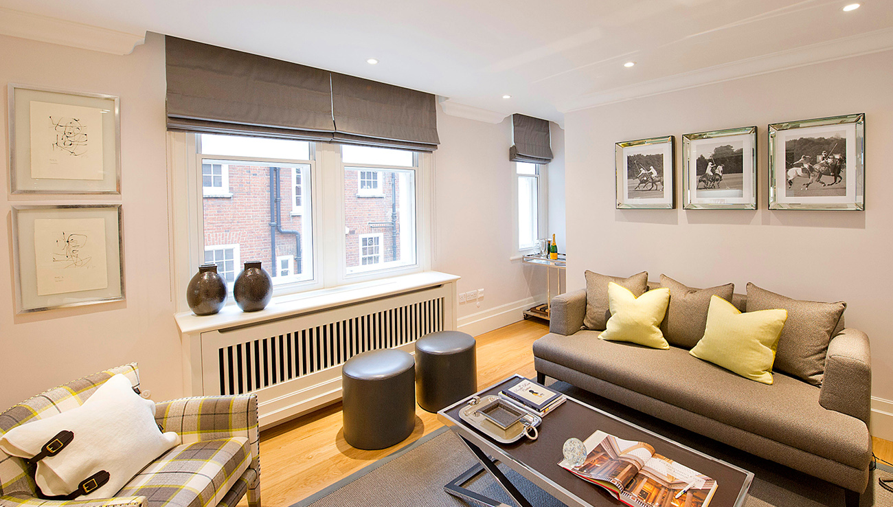 Bright living area at Native Mayfair Apartments