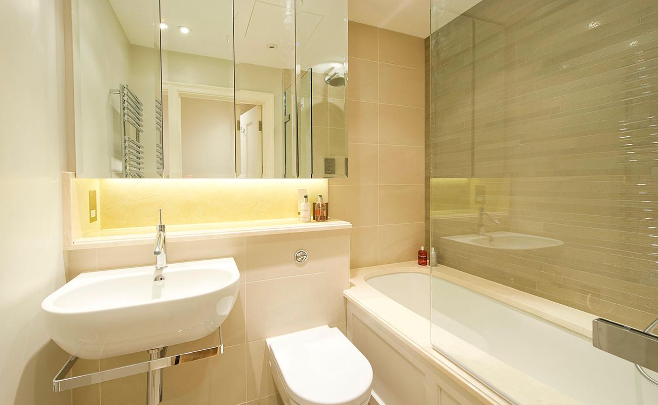 Bright bathroom at Native Mayfair Apartments