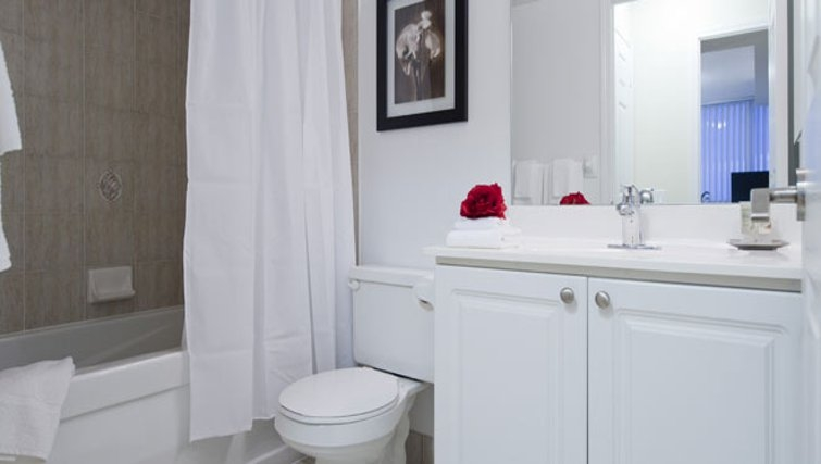 Bright bathroom in 360 At City Centre Apartments