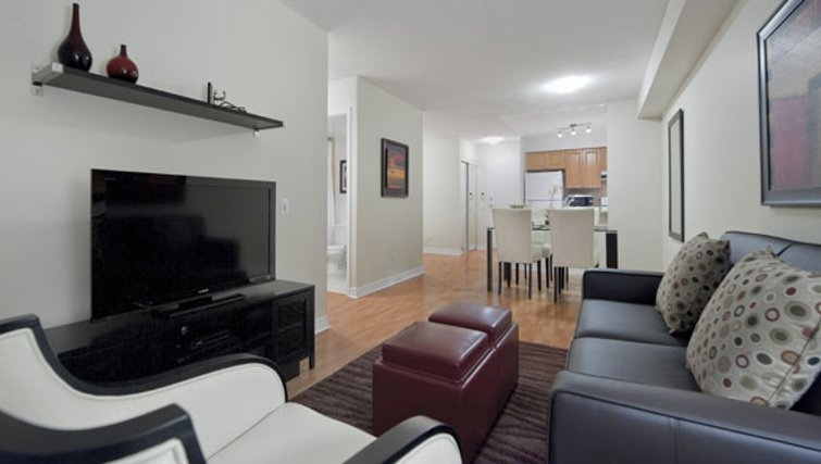 Stylish living area in 360 At City Centre Apartments