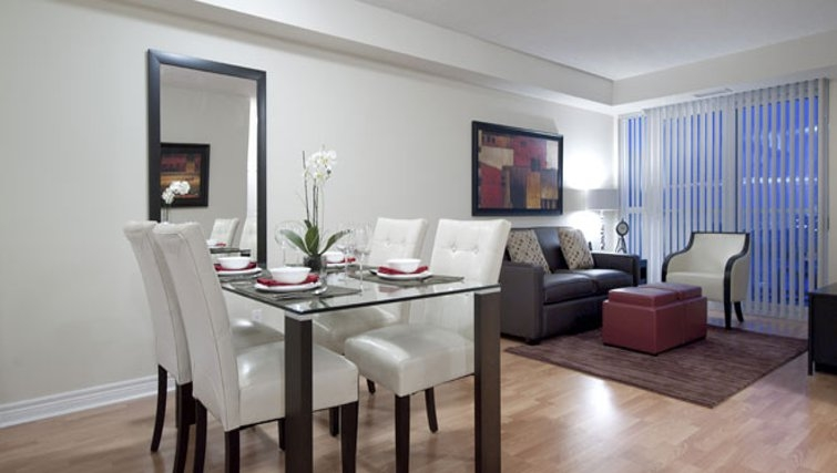 Elegant dining area in 360 At City Centre Apartments