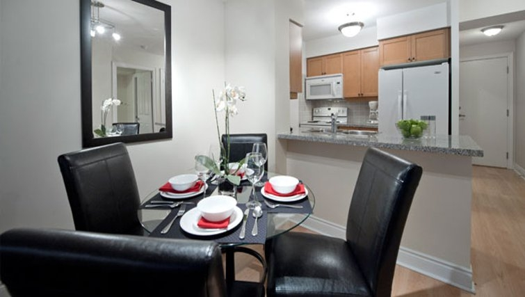 Modern dining area in Meridian Apartments