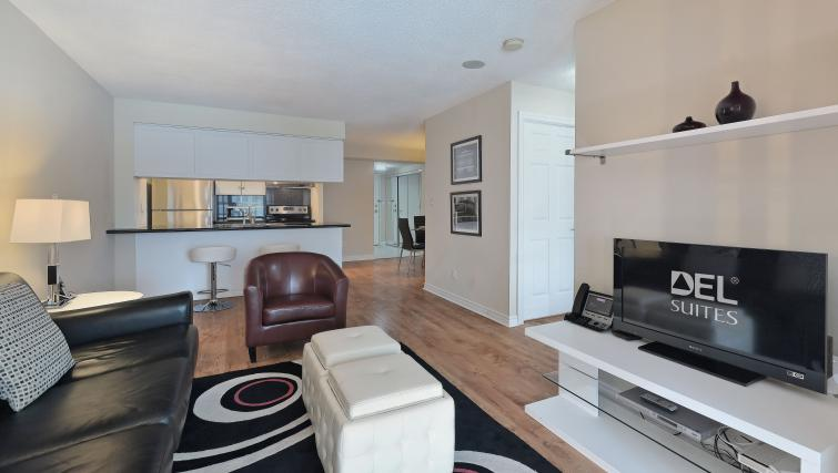 Living area at Qwest Apartments
