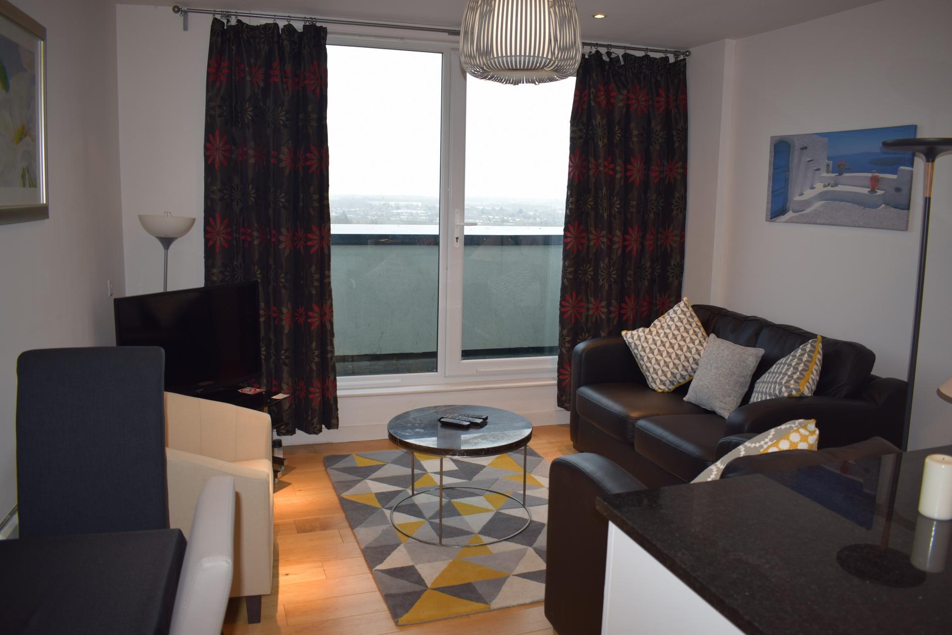 Living room at Clarendon Loft Apartments, Centre, Watford