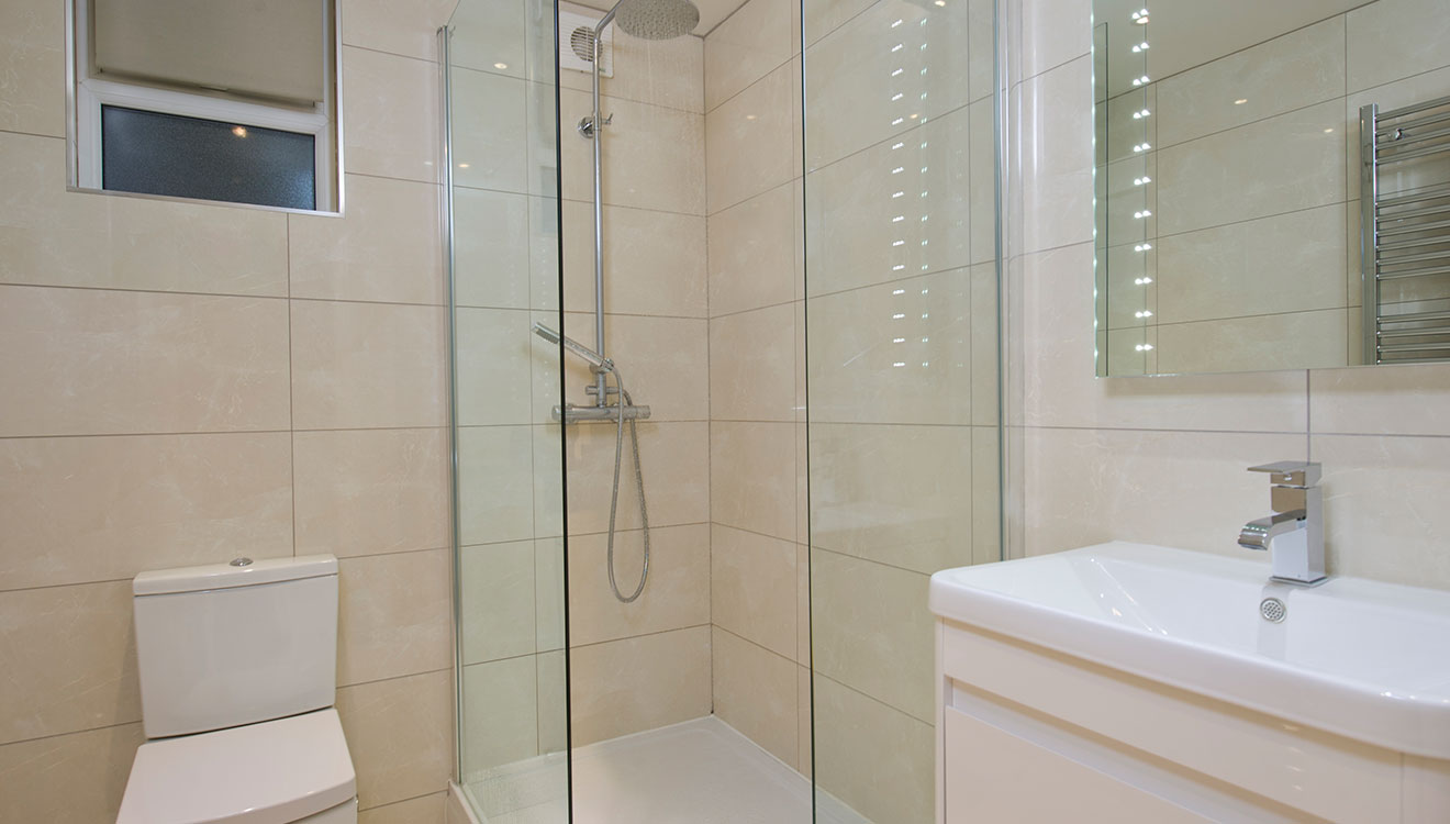 Shower room at 20 The Barons Apartments