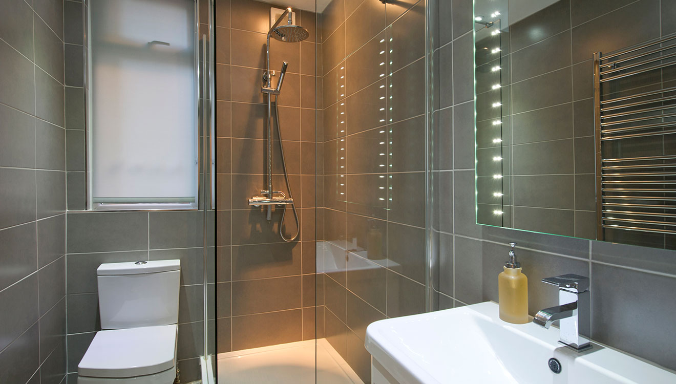 Modern bathroom at 20 The Barons Apartments