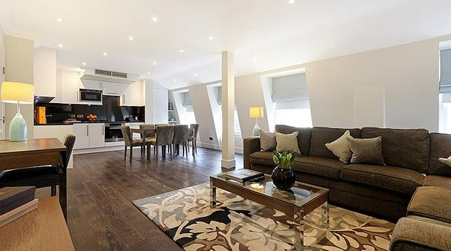 Contemporary living area in Ashburn Court Apartments